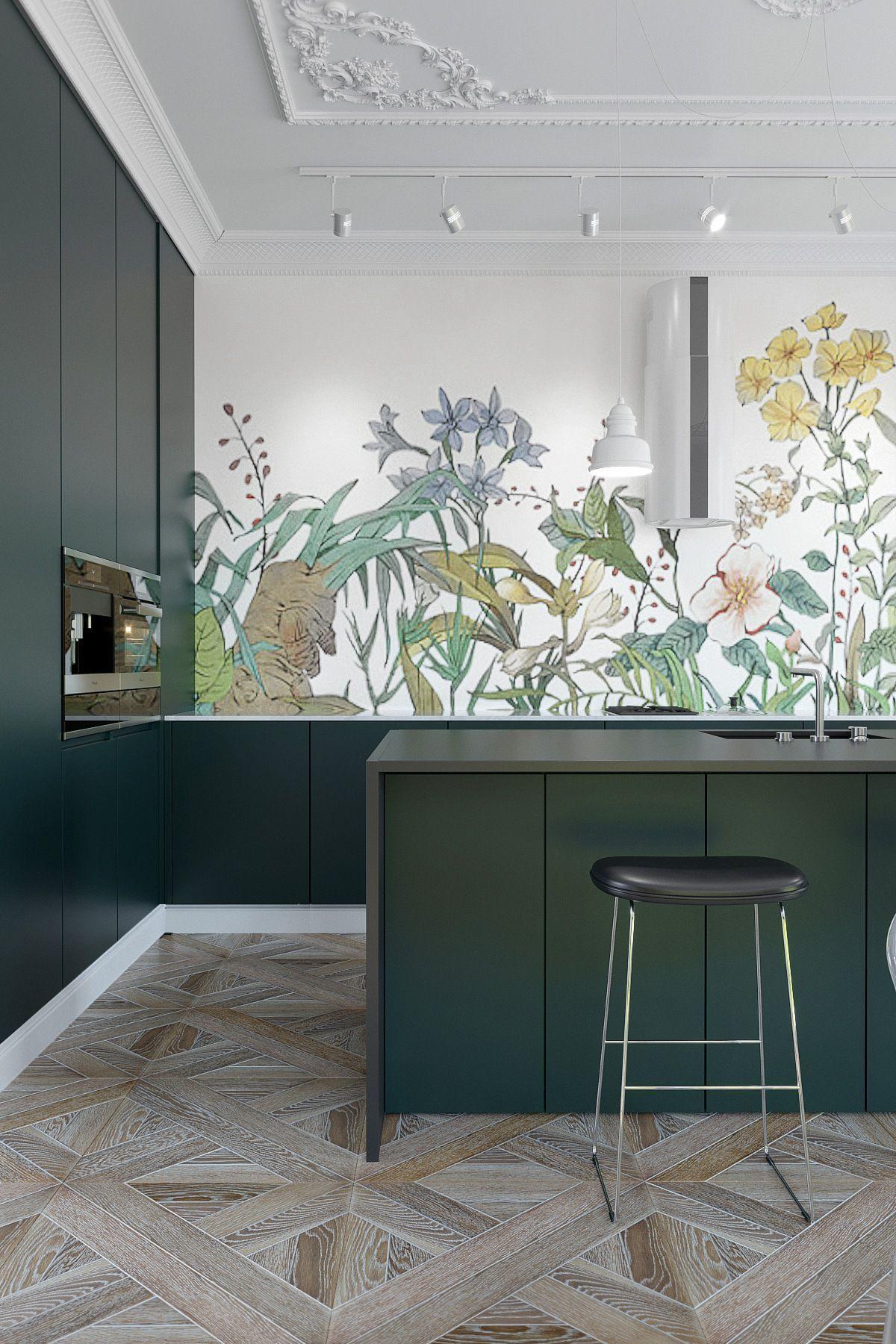 papier peint végétal cuisine vert sapin parquet bois marron gris