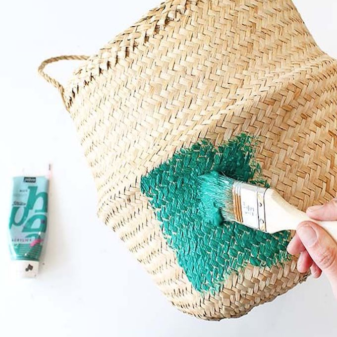 peinture vert pinceau bois panier de rangement rond DIY rapide et facile