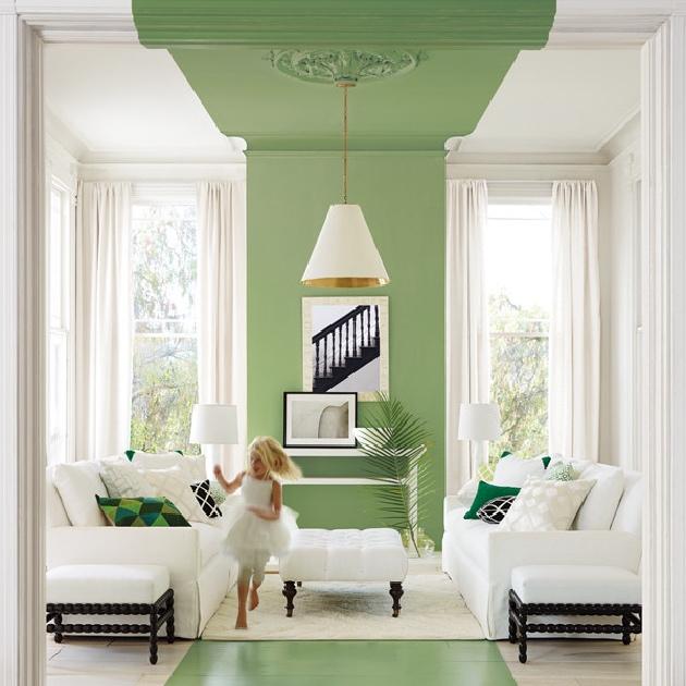 peinture salon mur bicolore ligne mur plafond