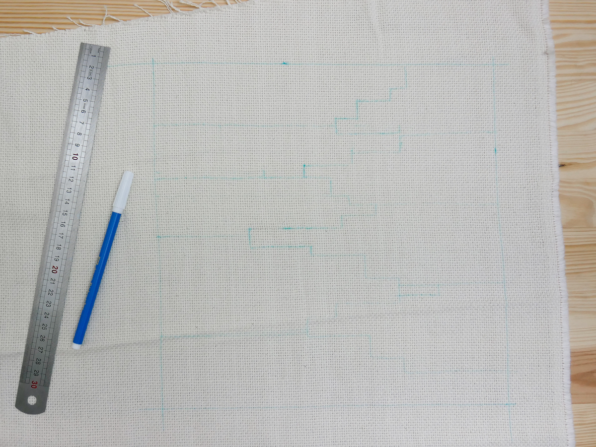 Tuto coussin Punch Needle coupon toile