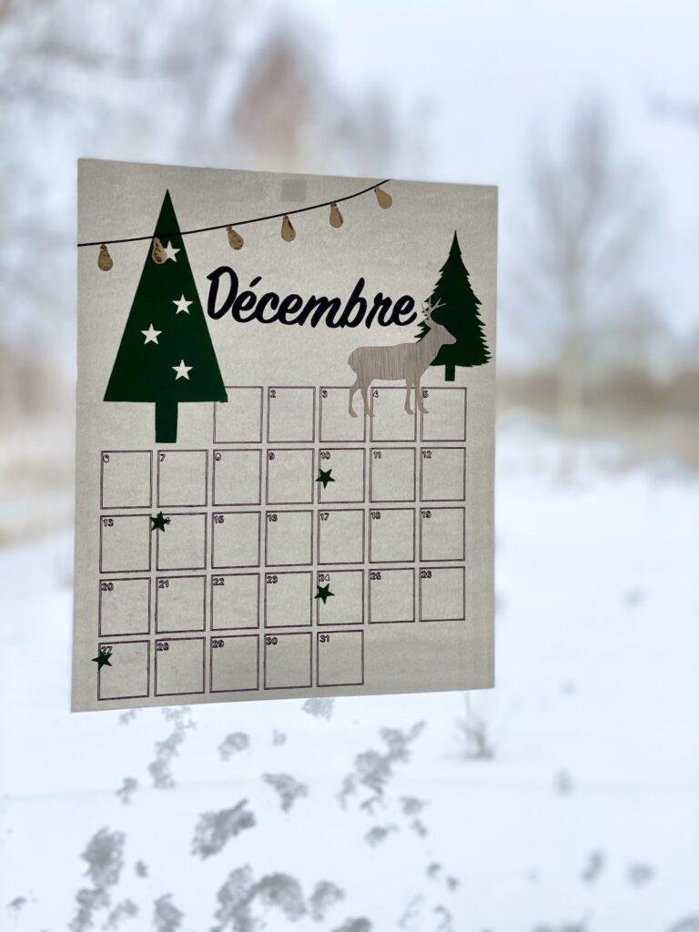 calendrier 2021 décembre vitrine motif