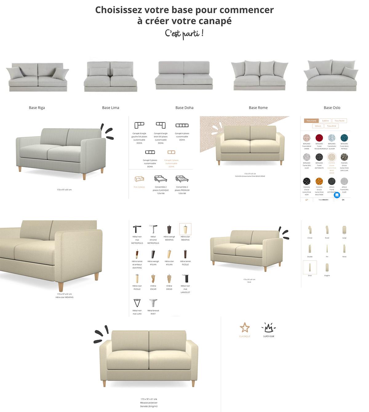 Canapé personnalisable Maisons du Monde So...me choix pieds assise tissu forme taille