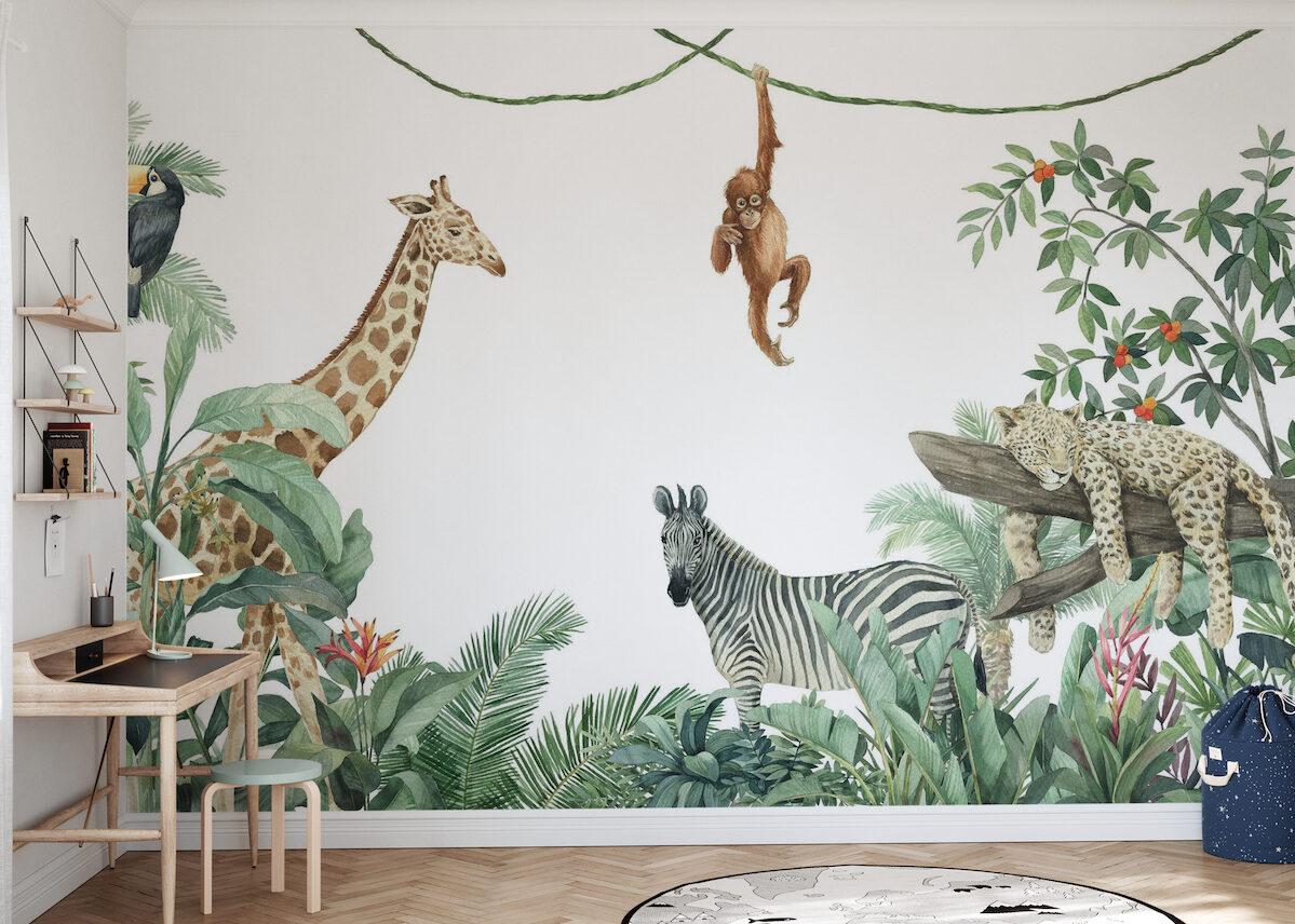 chambre enfant décoration scandinave mur jungle animaux