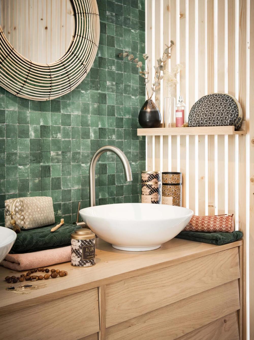 crédence carreau de ciment vert deco rustique authentique mobilier bois