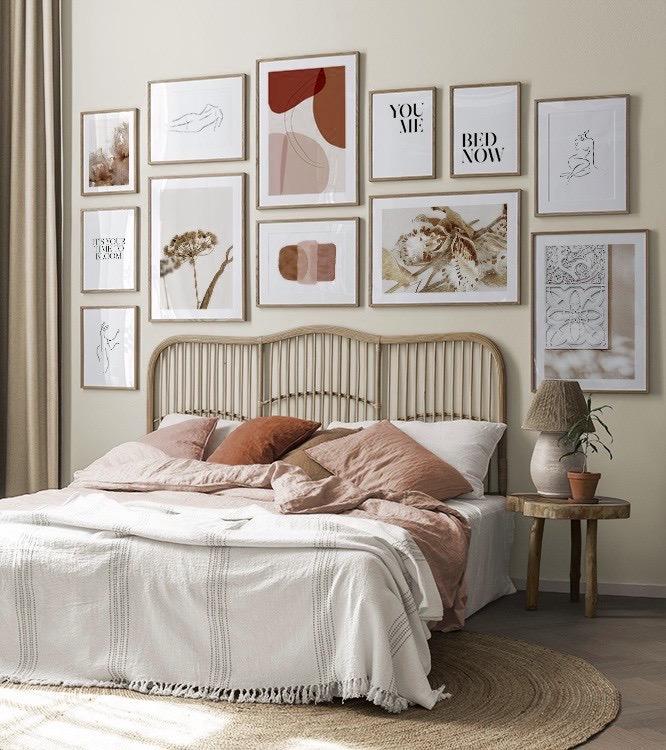 décoration nuance rouge rose orange chambre lit rotin
