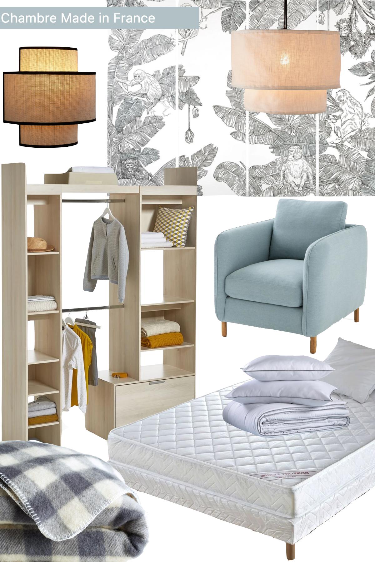 meuble chambre fabriqué en France lit couette lampe design