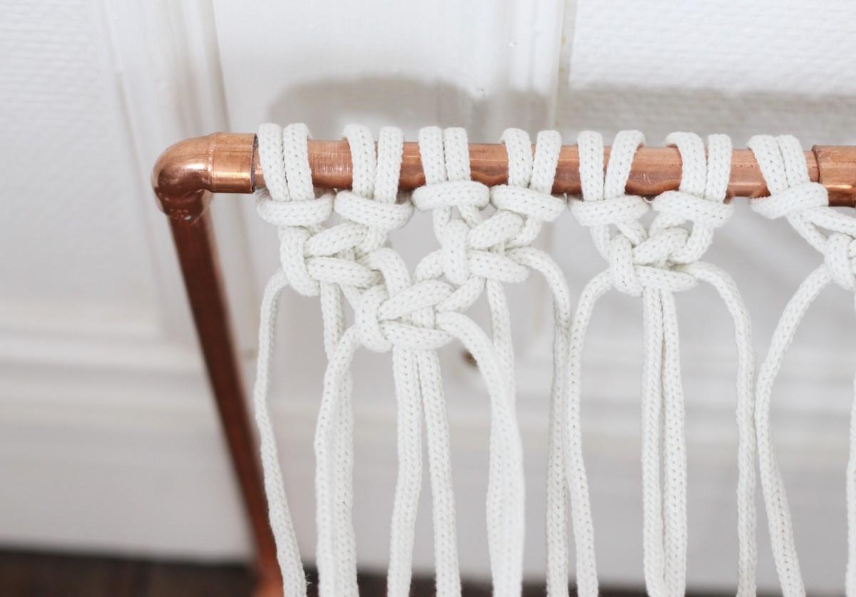 noeud facile assise vaisselier corde de tissage