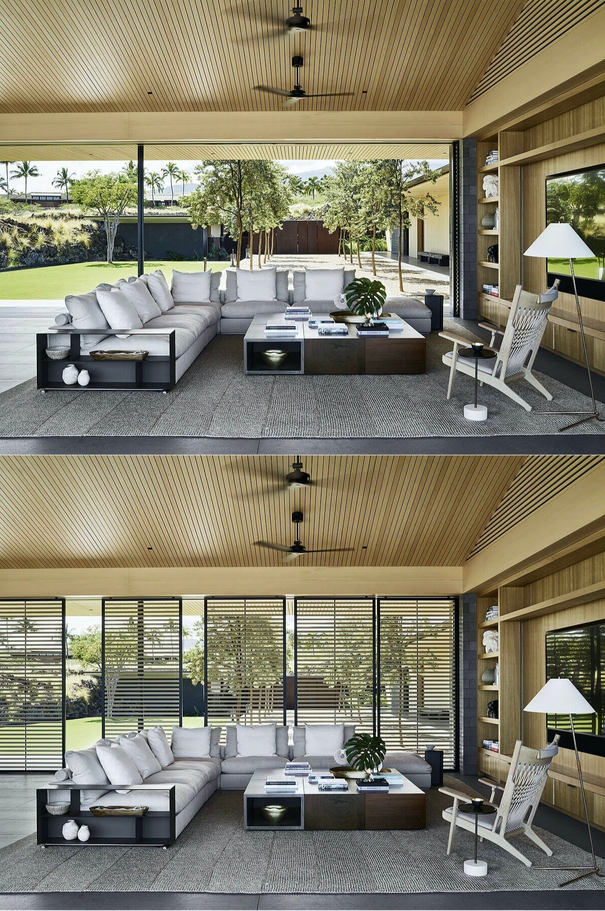 salon panneau bois cèdre meuble acajou moderne