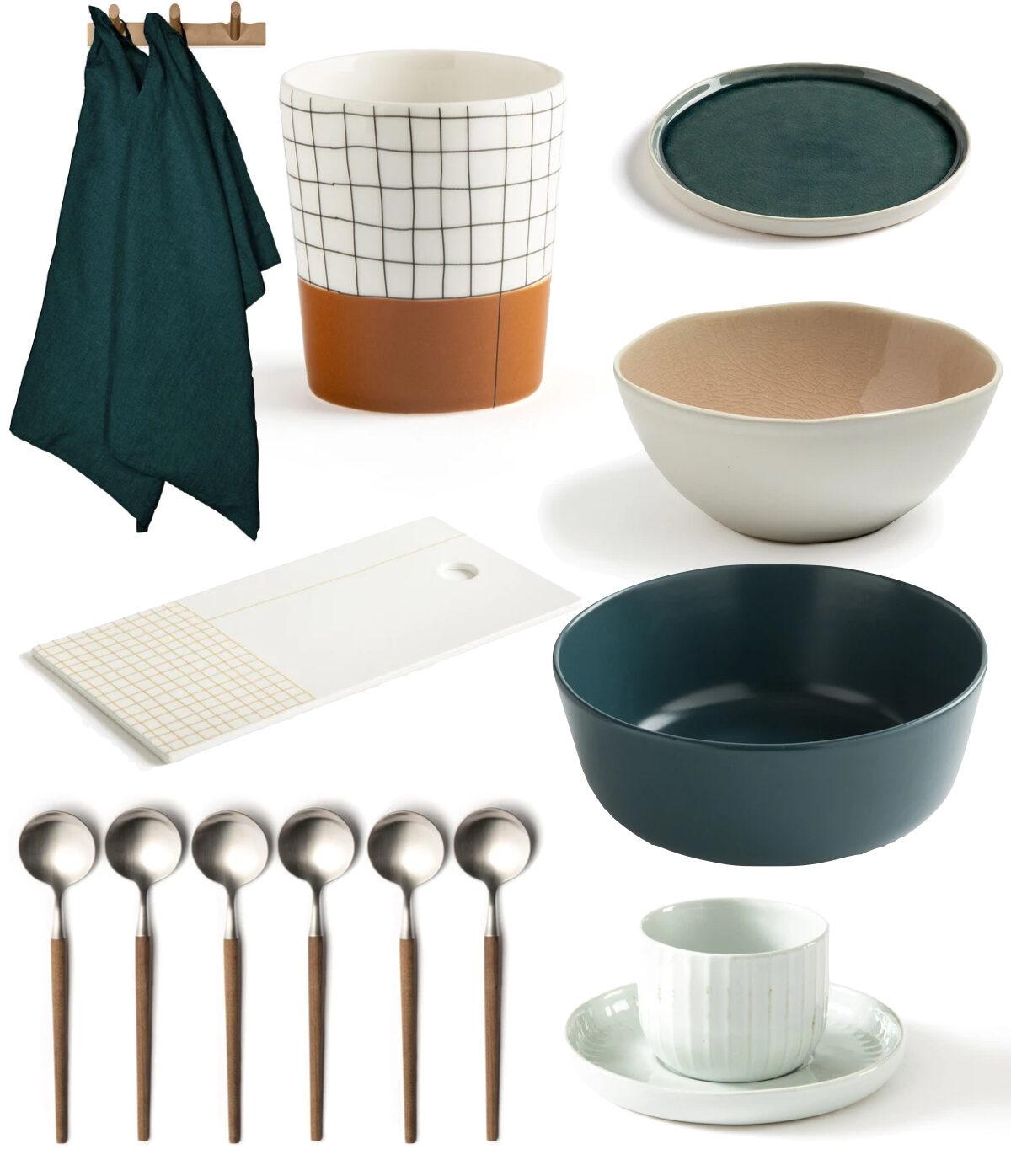 table vaisselle blanche bleu canard vert terracotta orange brique.001