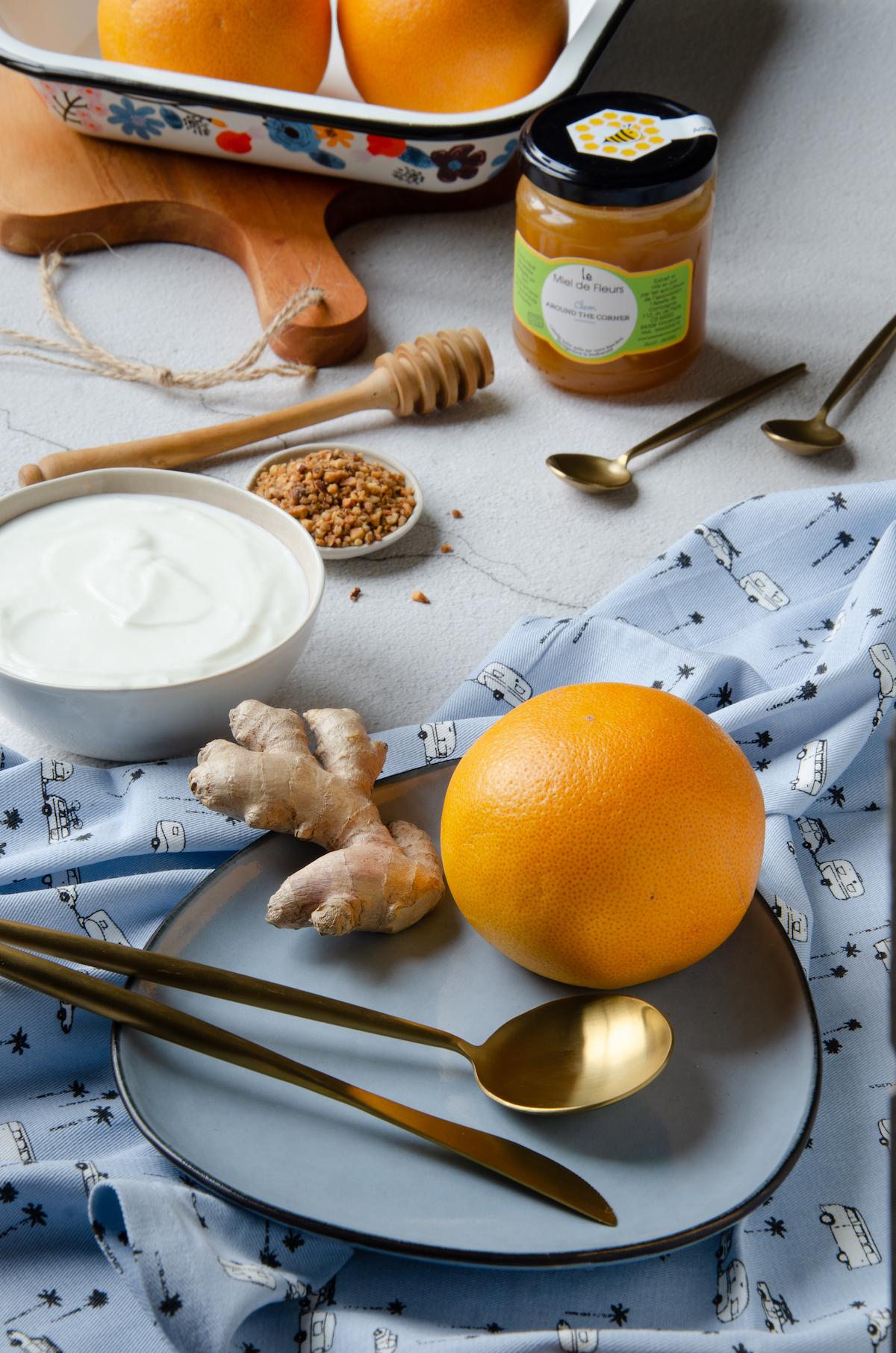 agrume au gingembre rôti au four miel