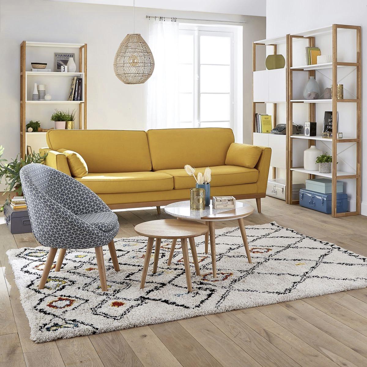 canapé lin jaune pastel décoration grise fauteuil fauteuil motif