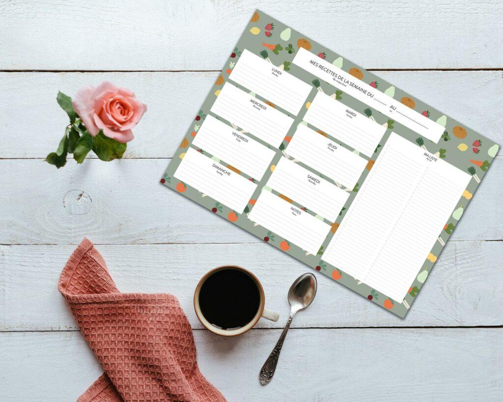 papeterie originale en ligne eshop carnet planning repas mural frigo joli