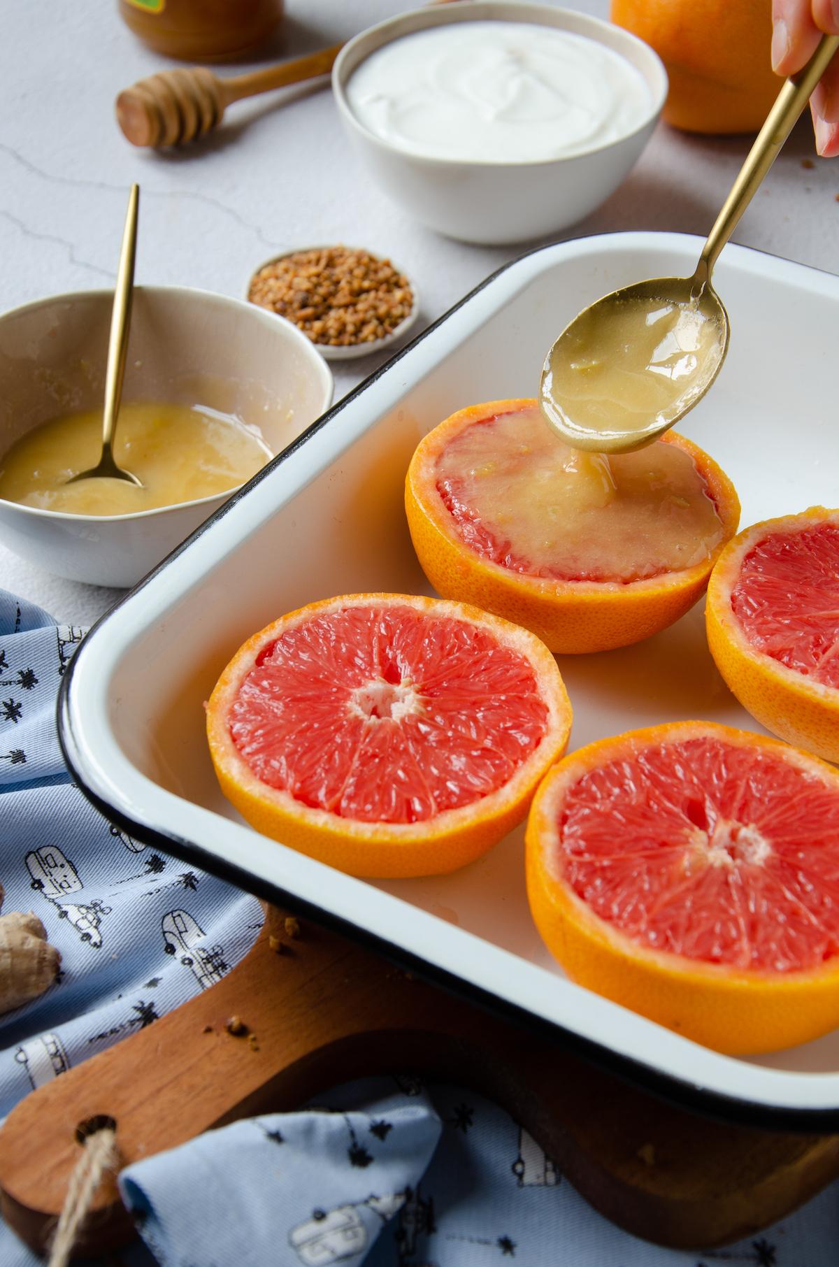 comment réussir pamplemousse roti au four miel