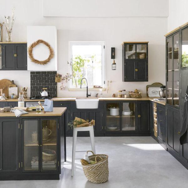 évier timbre d'office tendance vintage cuisine noir bois blanc