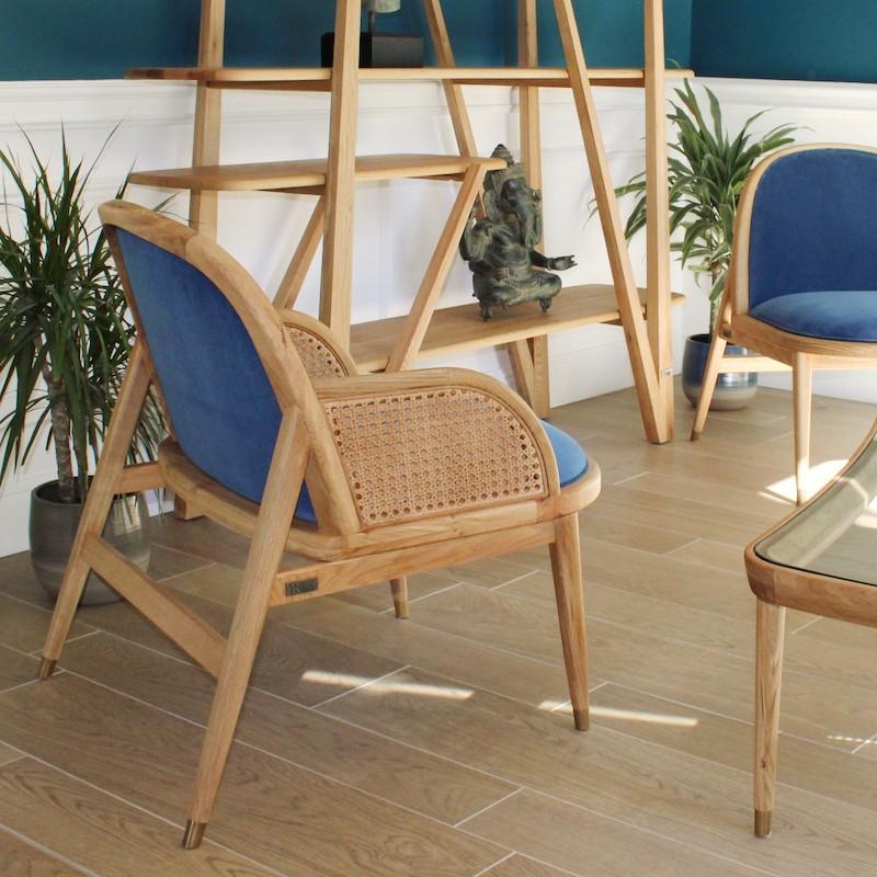 fauteuil marcel la redoute velours bleu cannage bois laiton style bord de mer