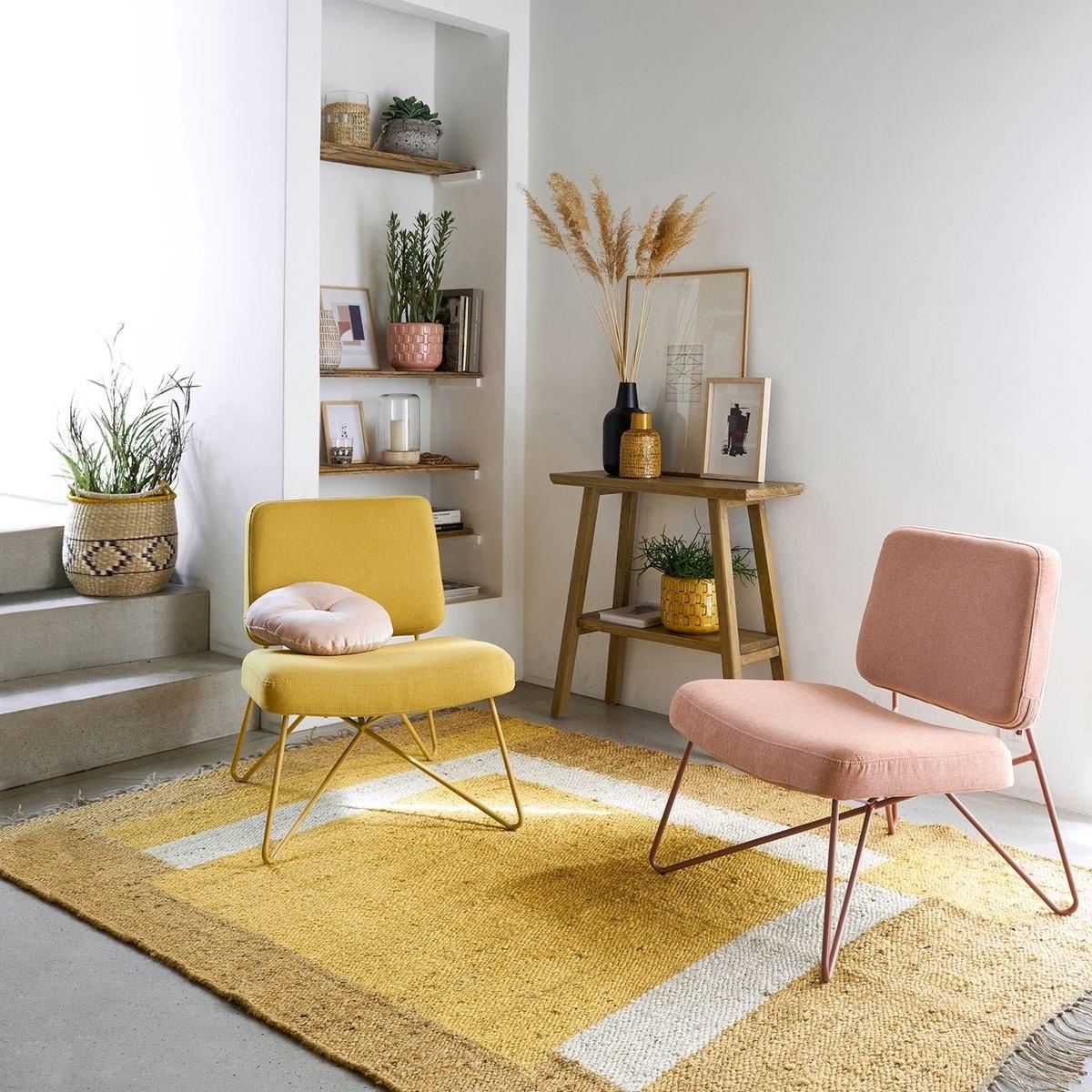 fauteuil pied épingle salon déco jaune retro tapis graphique