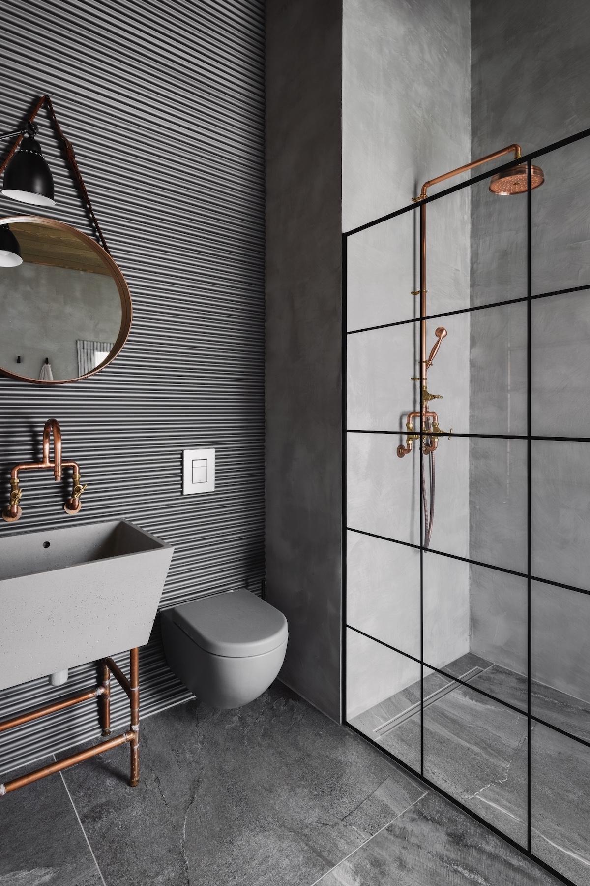 salle de bain gris cuivre rétro loft