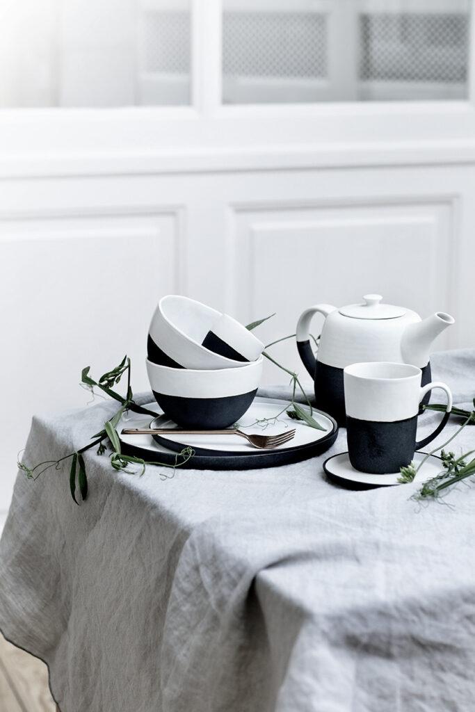 tasse mug bol bicolore noir blanc mat traditionnel