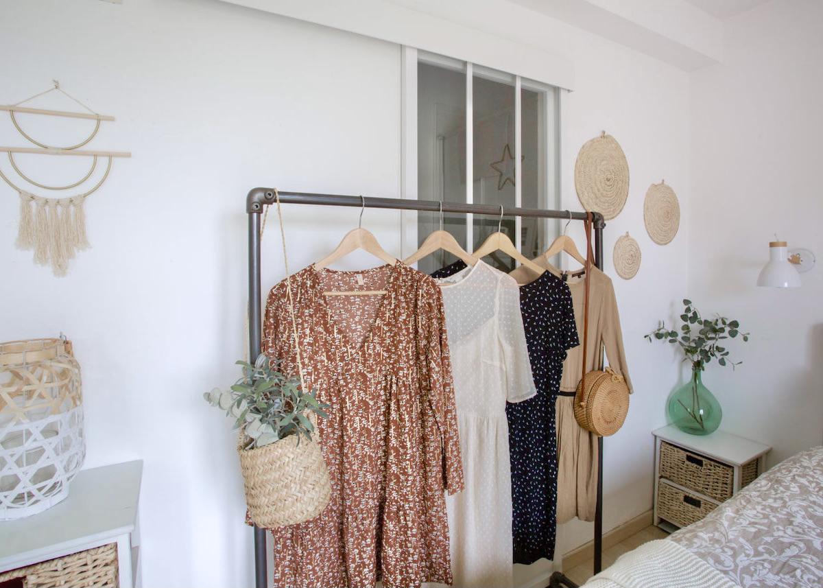 choisir portant à vêtements chambre industrielle bohème déco