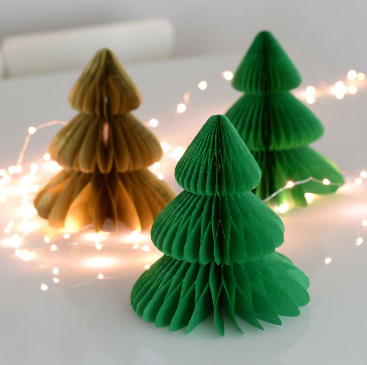 déco Noël Etsy sapin papier crépon origami