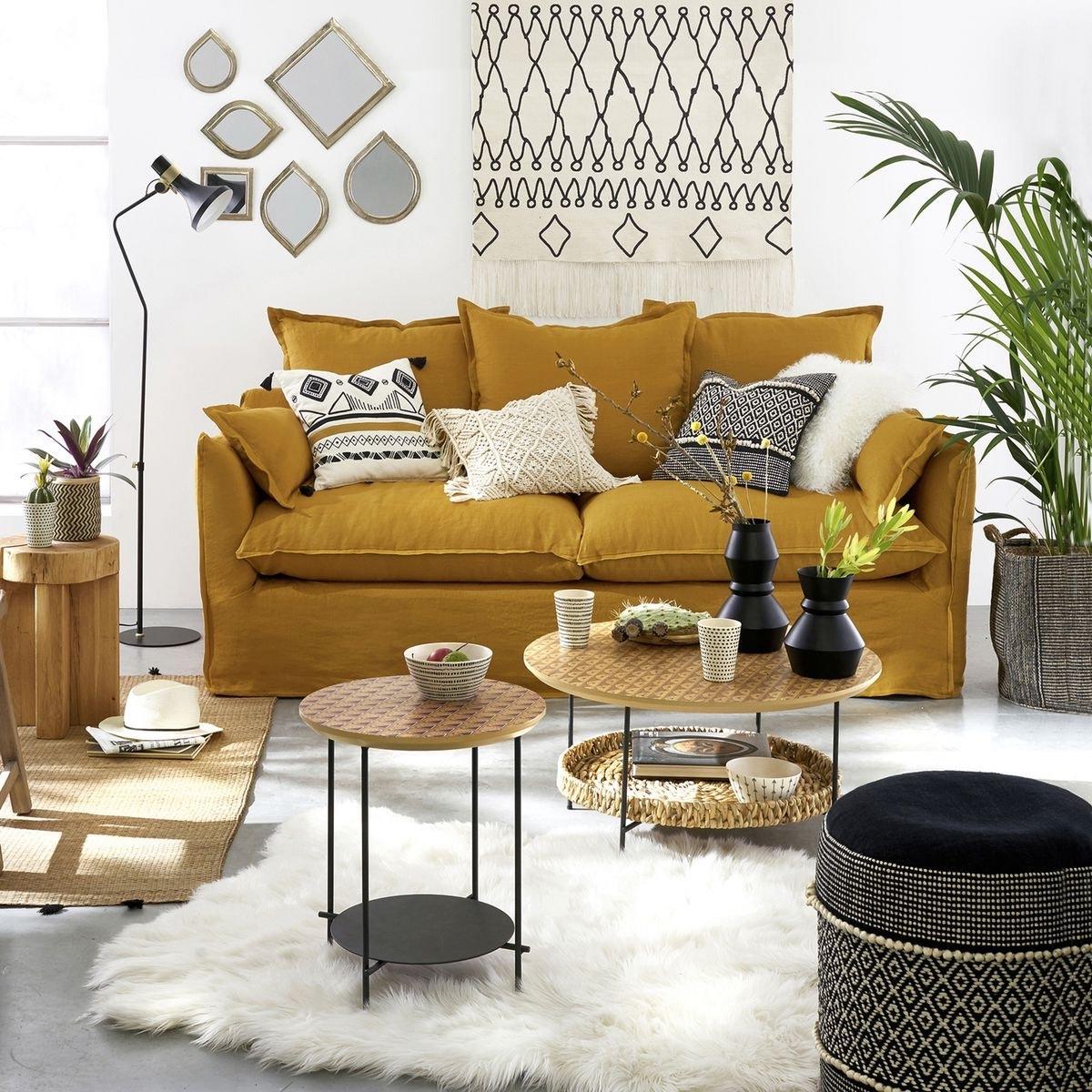 décoration jaune salon noir blanc canapé lin