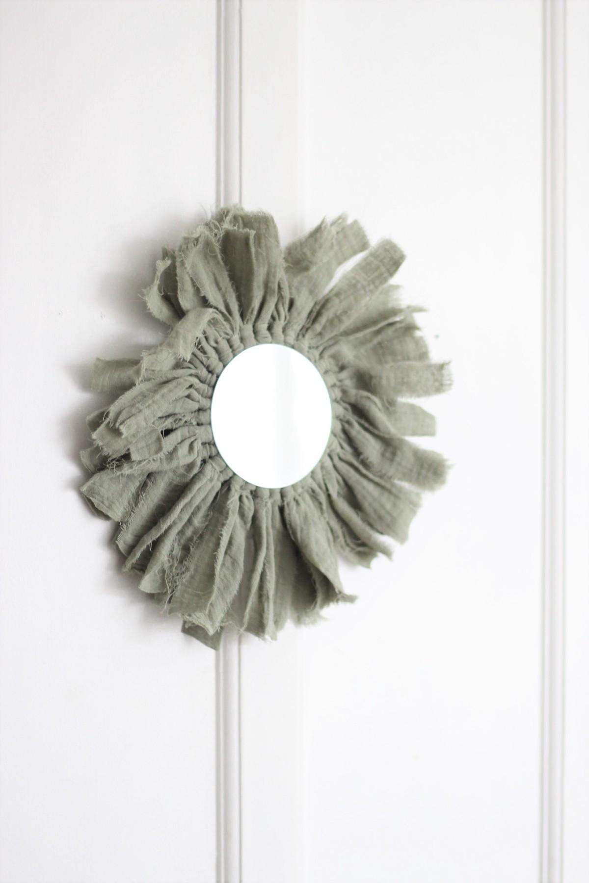 fabriquer miroir rond en tissu gaze de coton