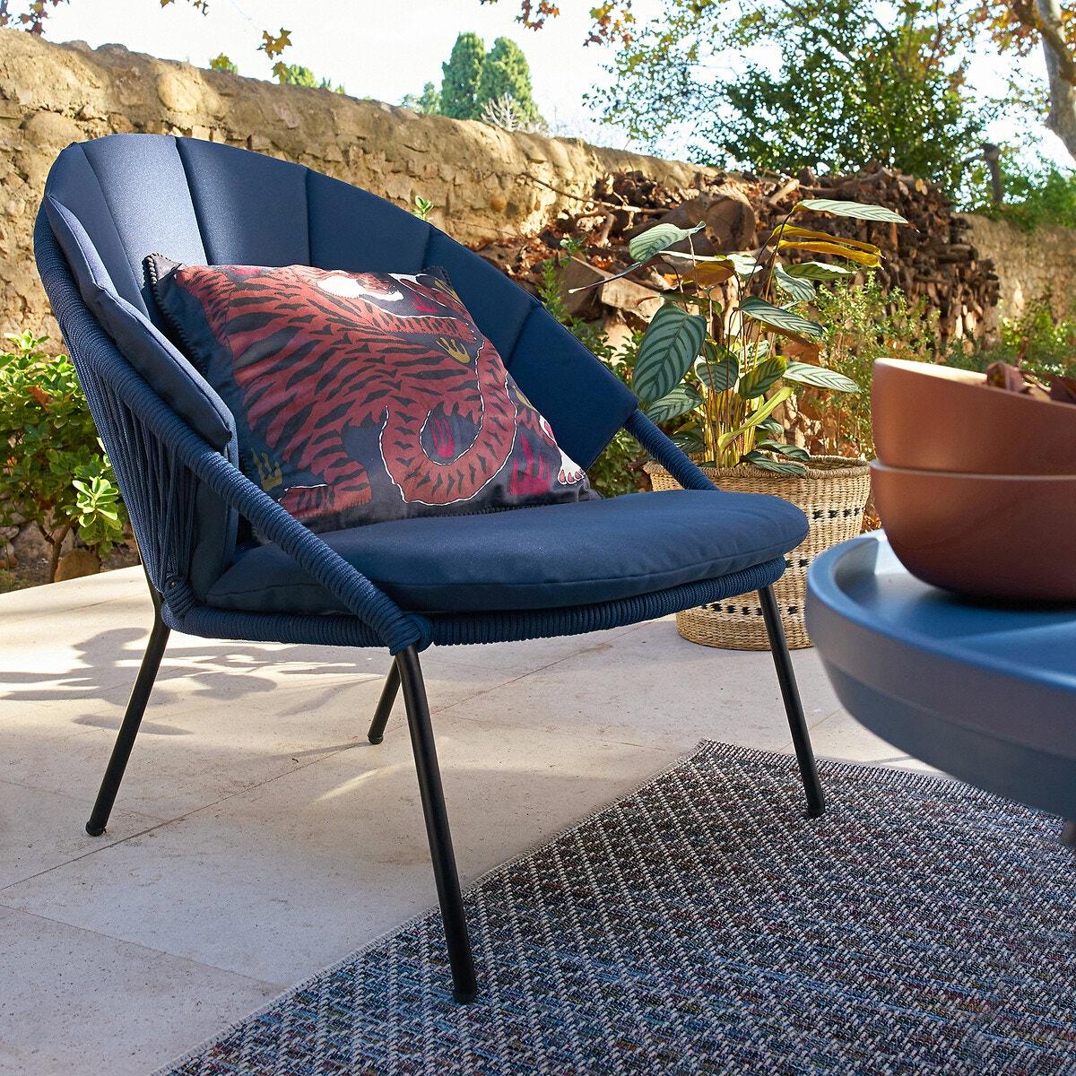Fauteuil pieds métal coussins bleu assise corde confortable extérieur