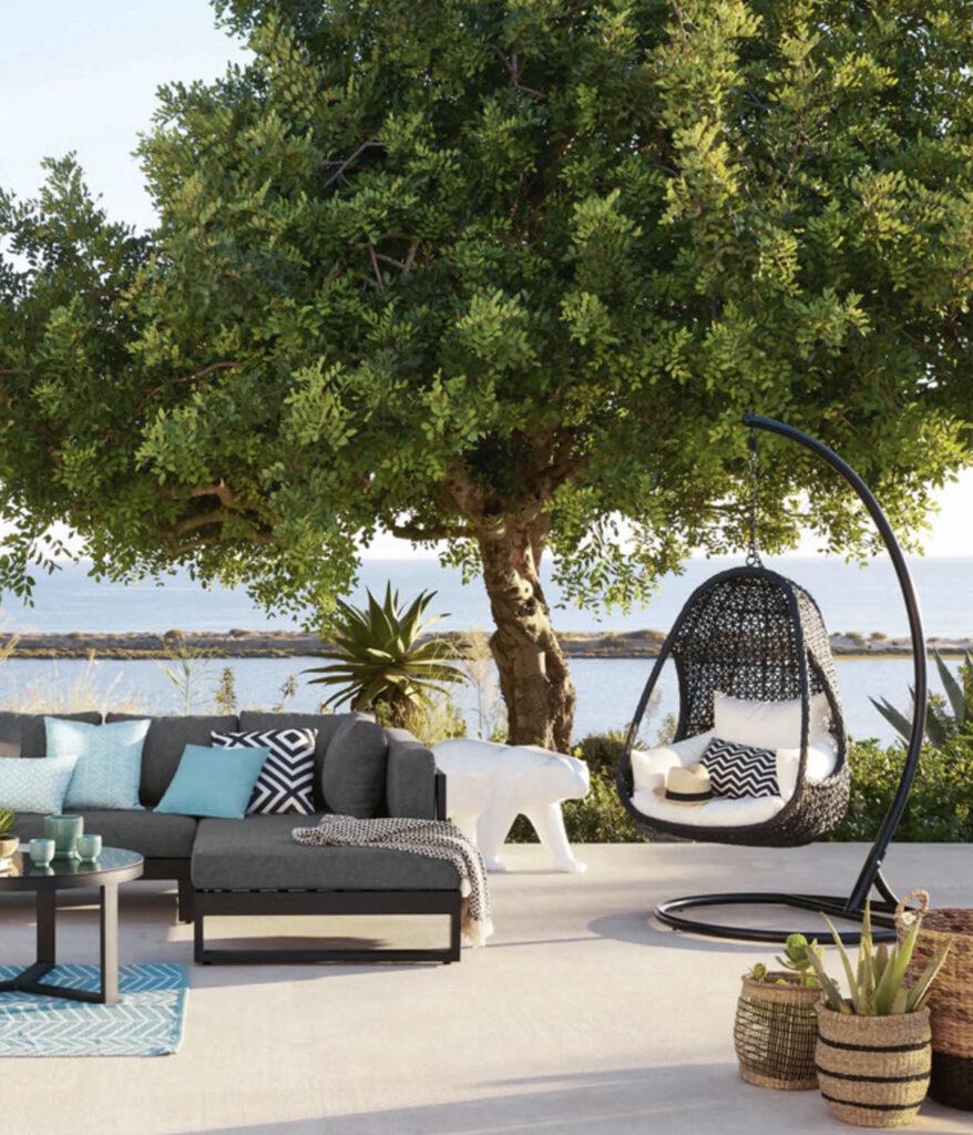 fauteuil suspendu de jardin sur pied noir
