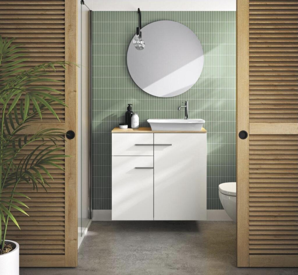 idée plante salle de douche verte blanche bois