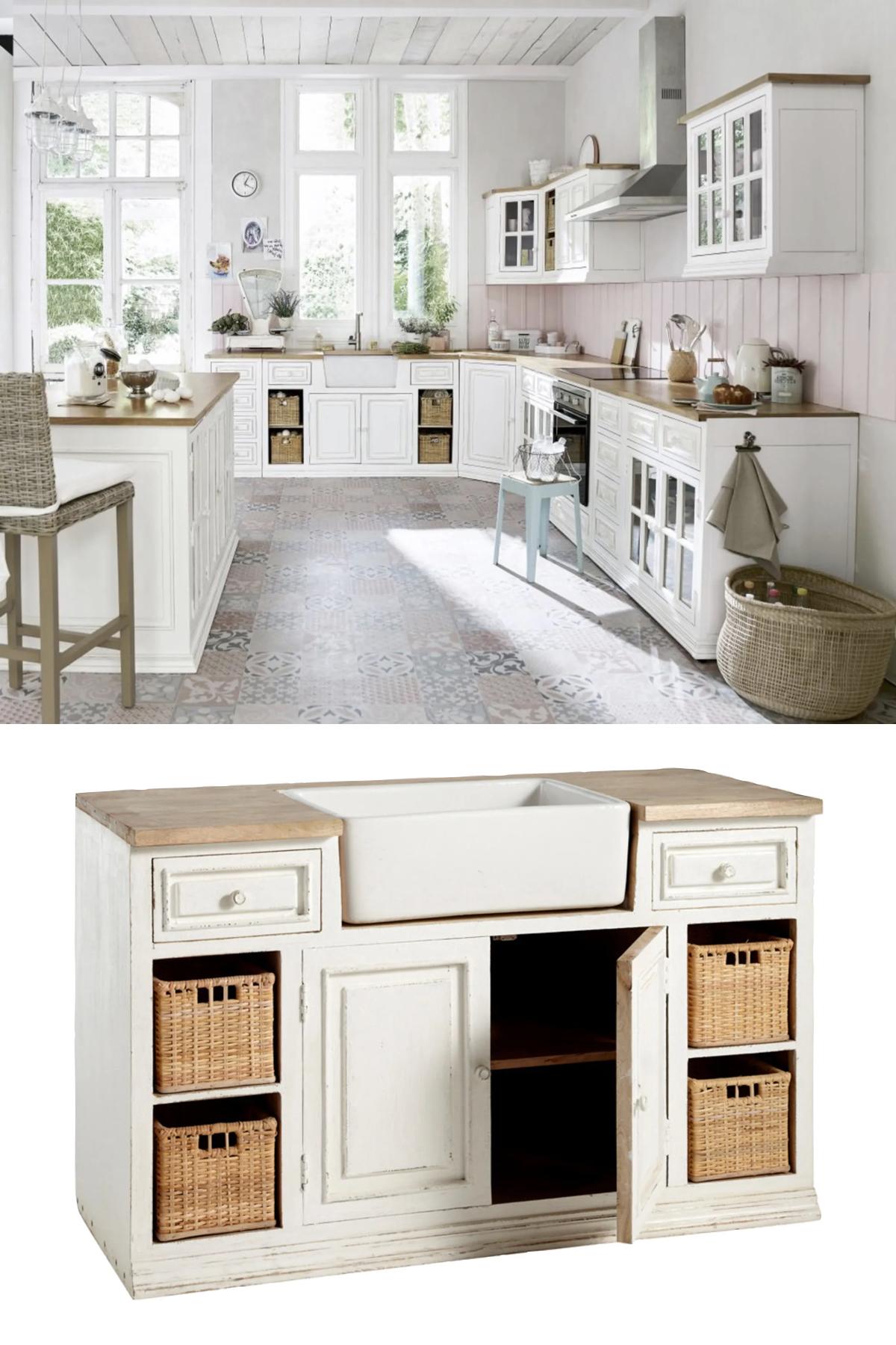 meuble blanc avec évier timbre d'office céramique bois manguier