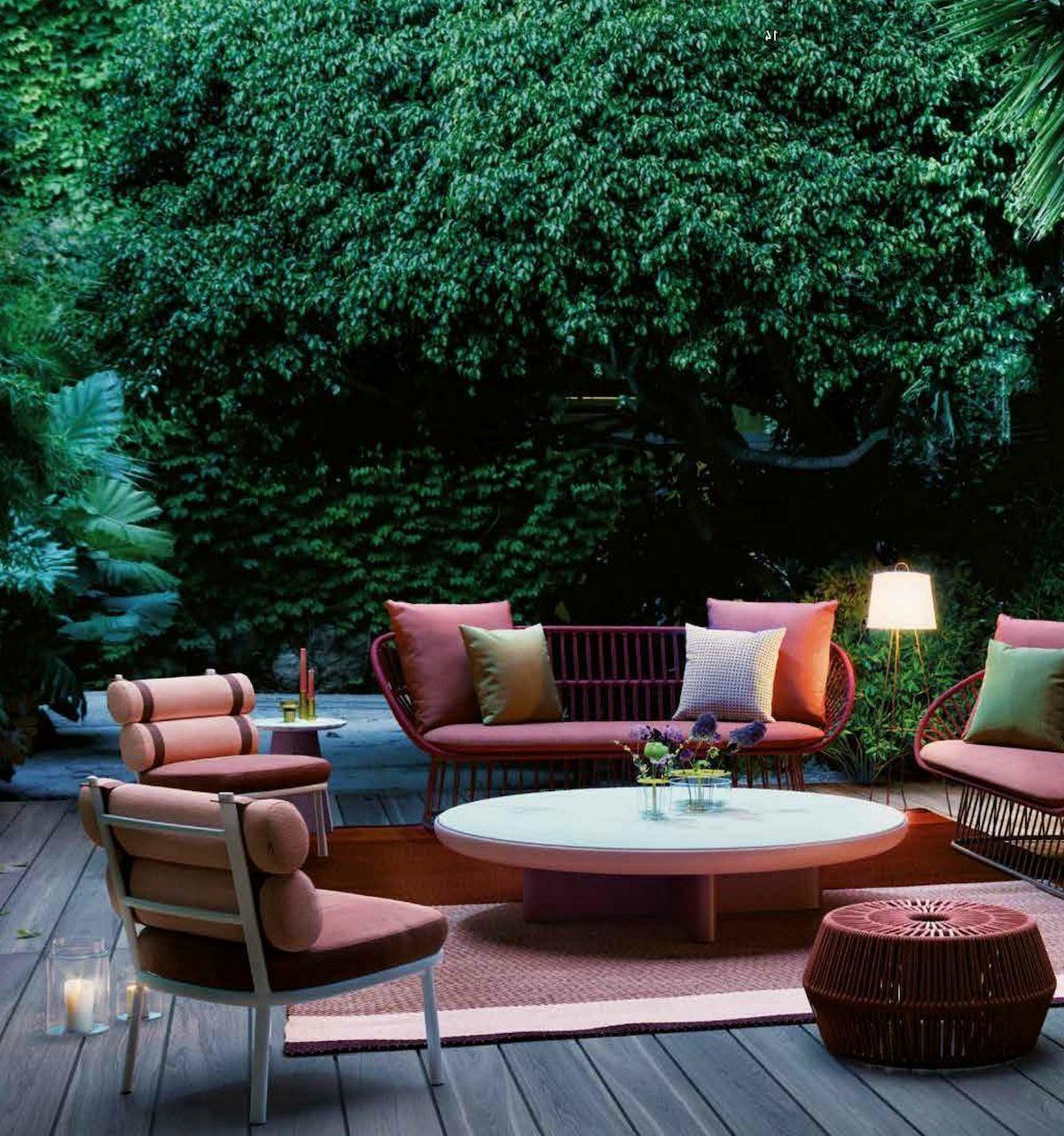 salon de jardin deco extérieure accessoires rouge style bohème