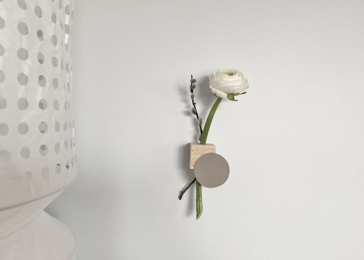 soliflore mural diy bois cuir minimaliste