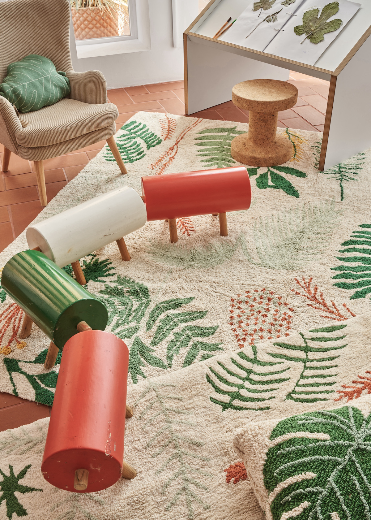 tapis botanique décoration motif plante verte