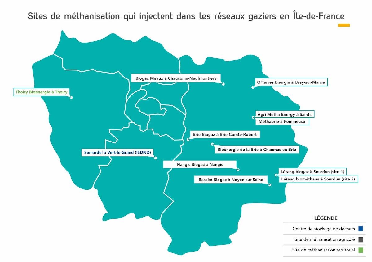 carte production gaz vert transition énergétique paris biométhanisation