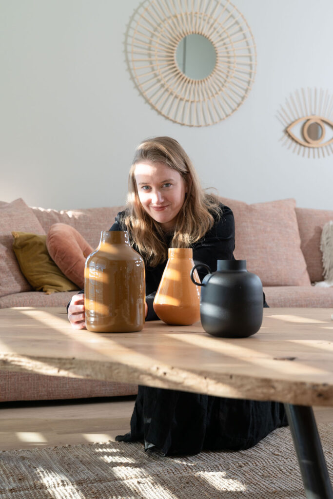 assortiment vase terracotta jaune moutarde noir mat artisanat