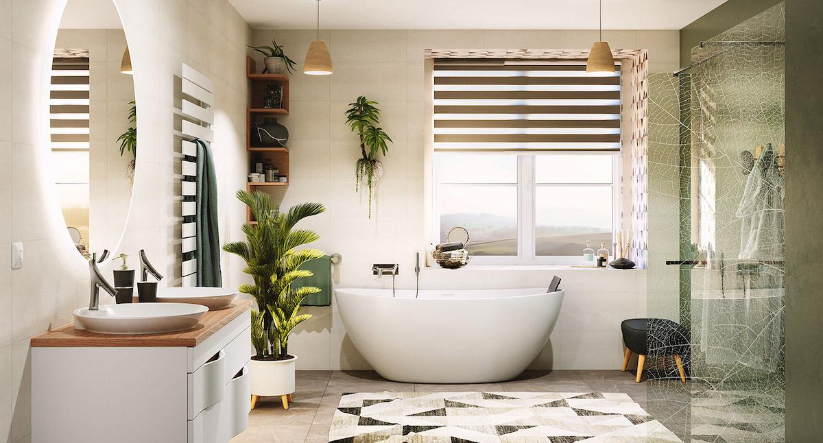 baignoire bois céramique blanche ilot ronde déco jungle nature