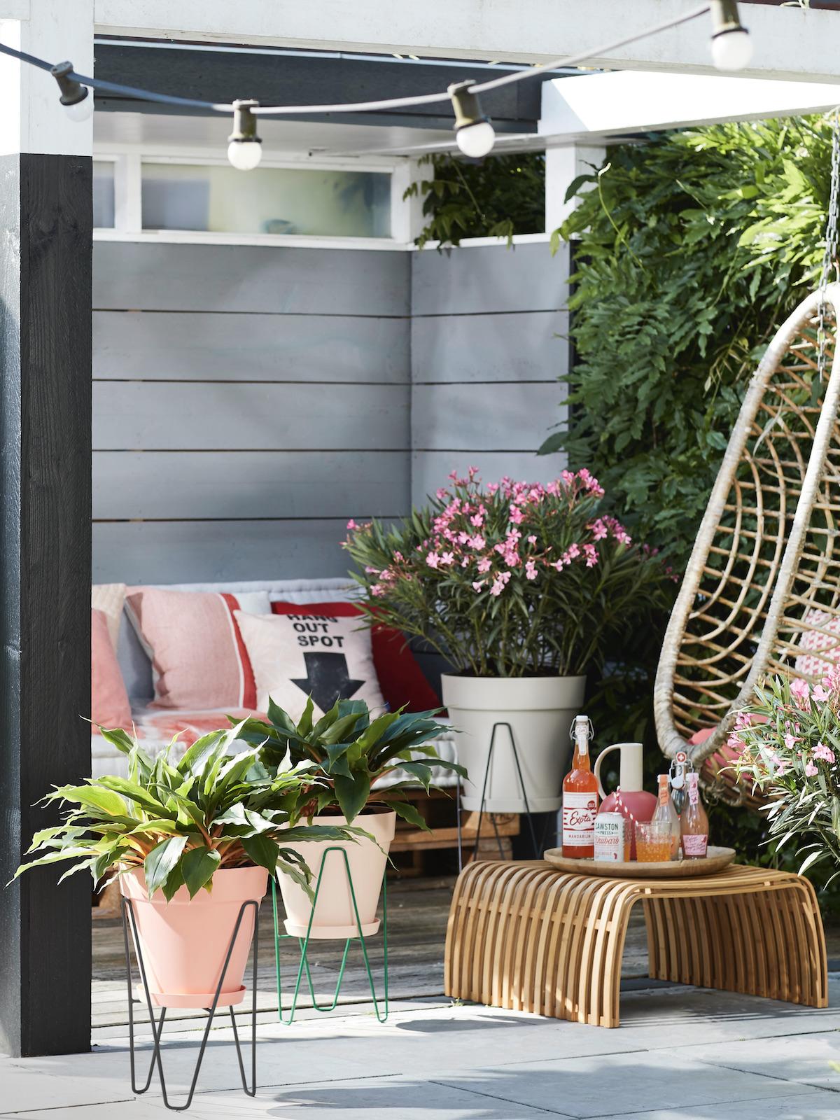 balcon écoresponsable récupération eau plante nature rotin
