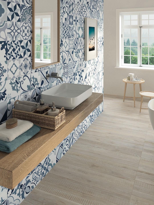 carrelage ciment graphique revêtement mural salle de bain
