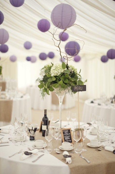 décoration mariage violet prune parme vert