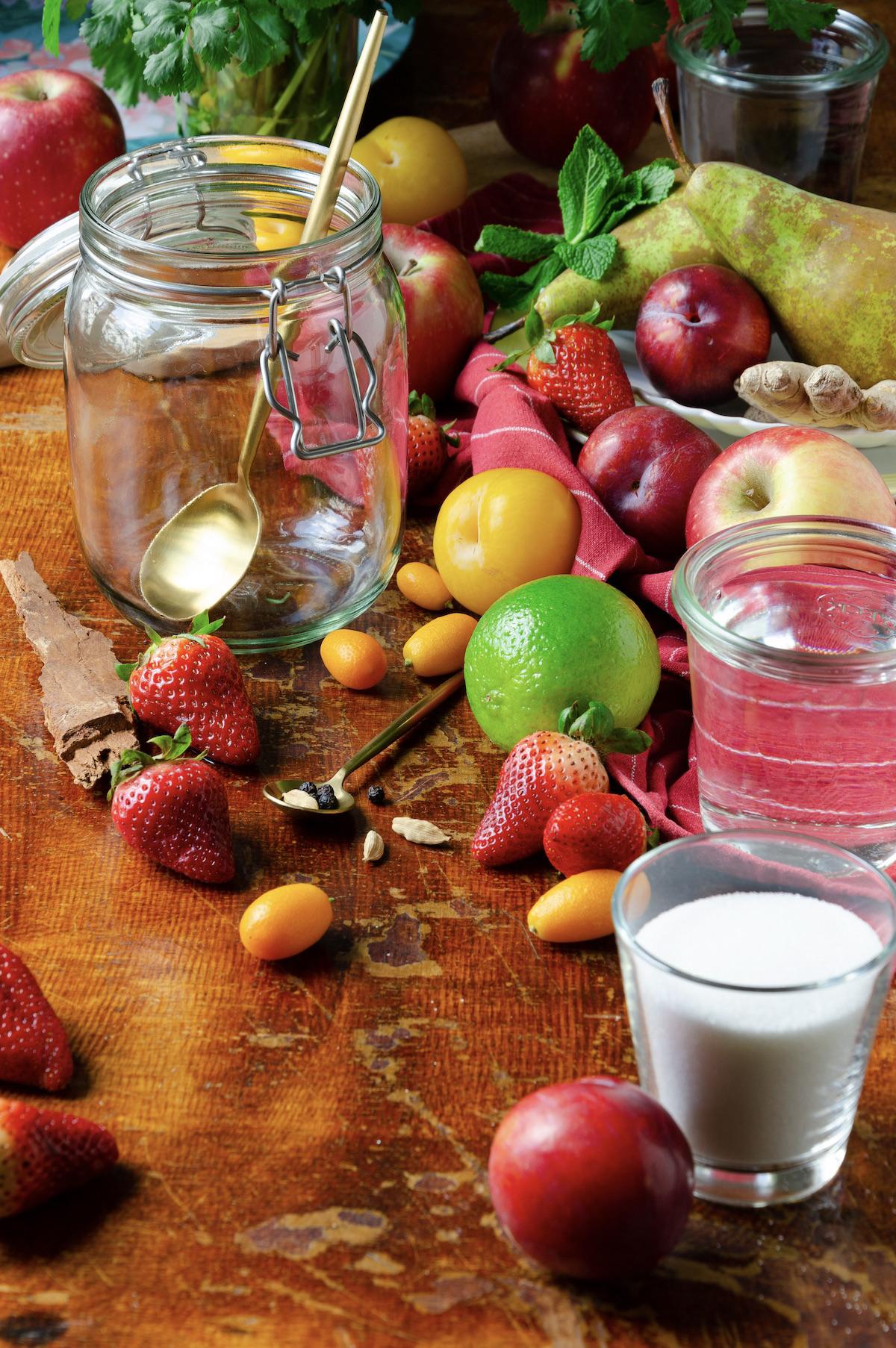 fruit sirop fraise citron vert kumquat cannelle prune