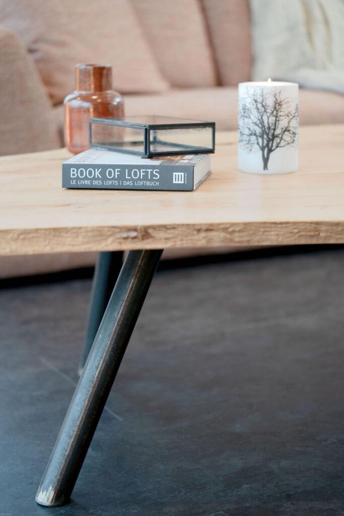 salon style loft sol Gerflor nordic stone table bois brut - blog déco clem