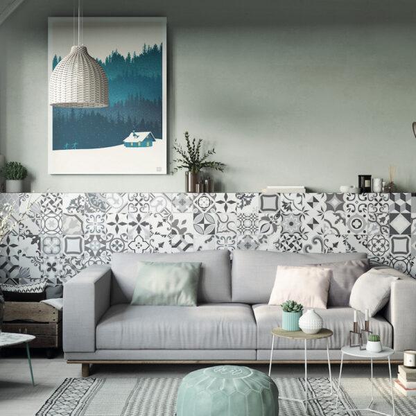 soubassement carrelage en ciment design noir et blanc