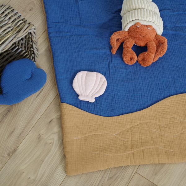 tapis d'éveil fait main océan poisson baleine coquillage en tissu