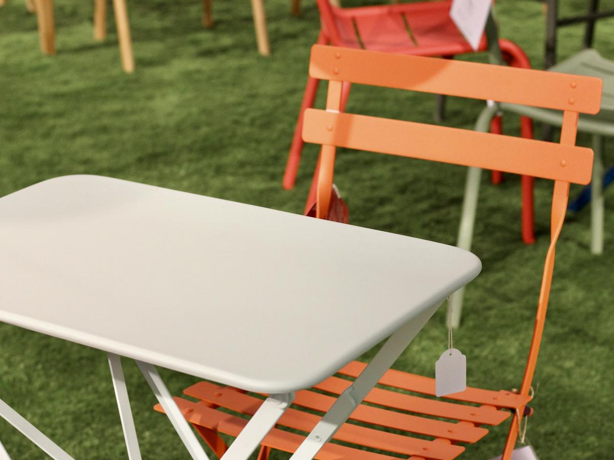 chaise balcon jardin orange métal pliante déco vitaminée