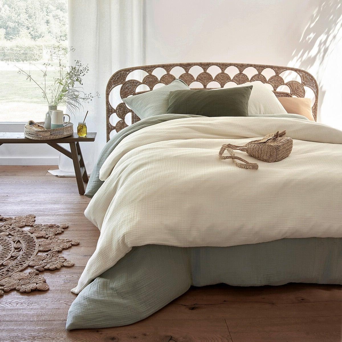 chambre bohème lit corde housse couette dépareillé gaze coton