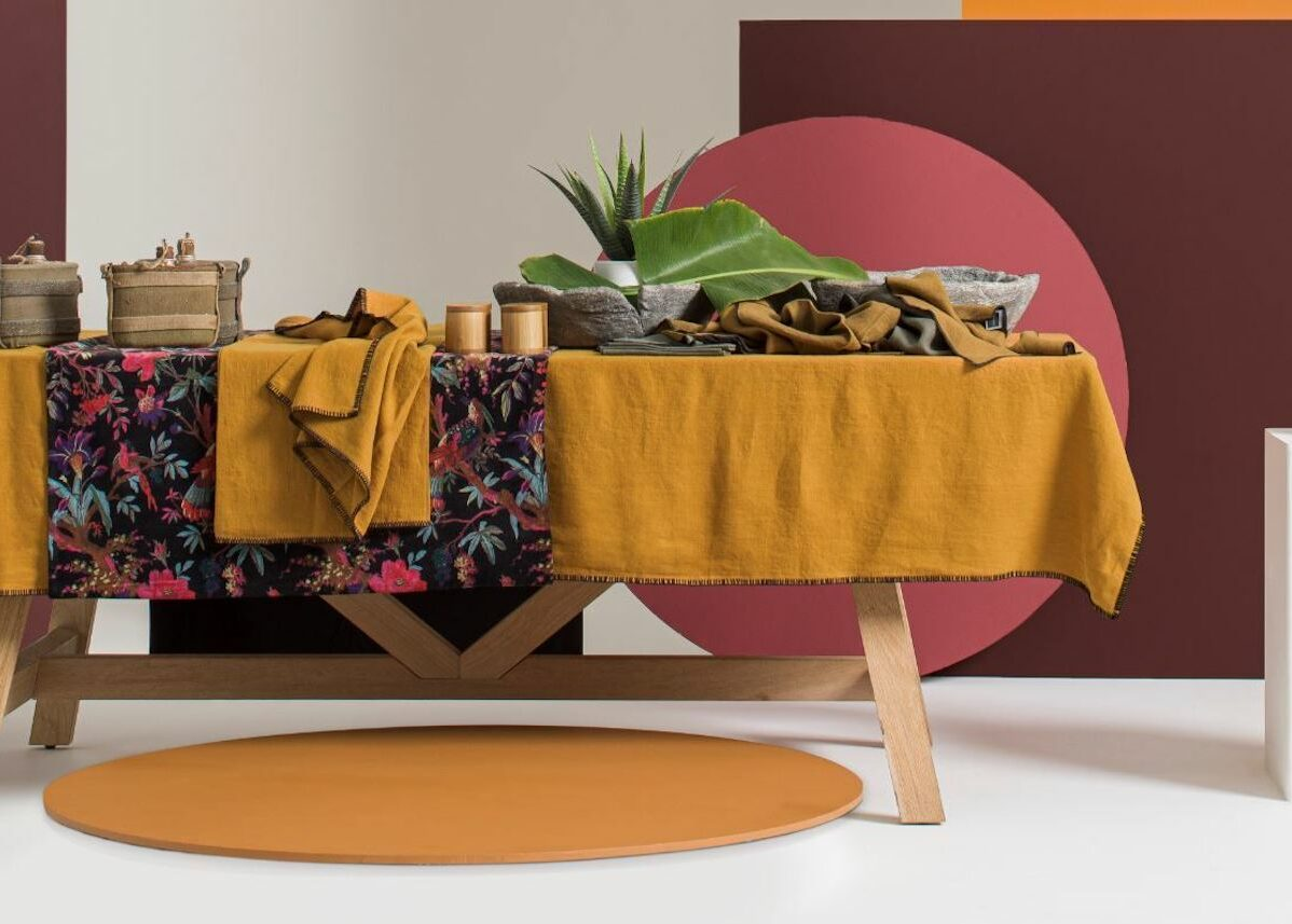 déco vitaminée table lin terracotta orange moutarde - blog clem atc