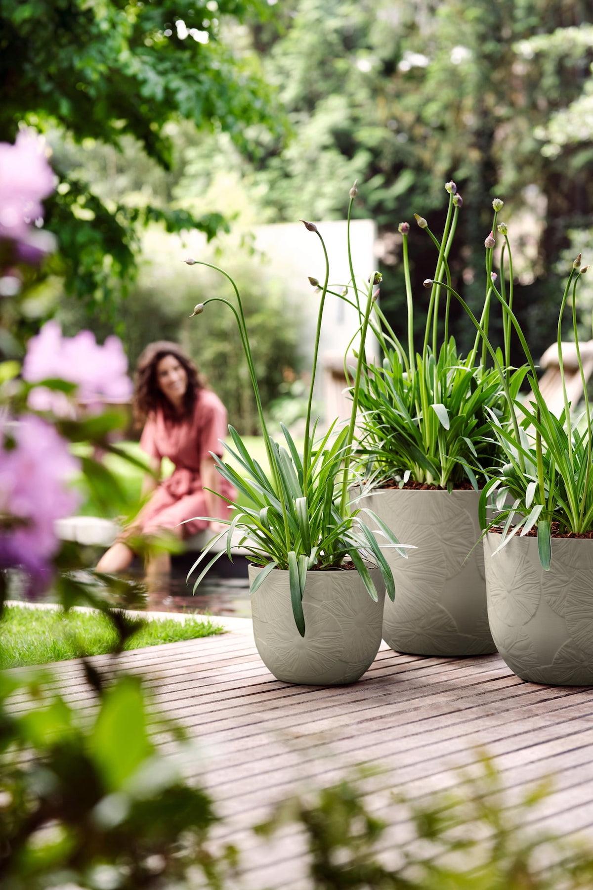fuente pot fleur motif 3d feuille gris jardin harmonie composition