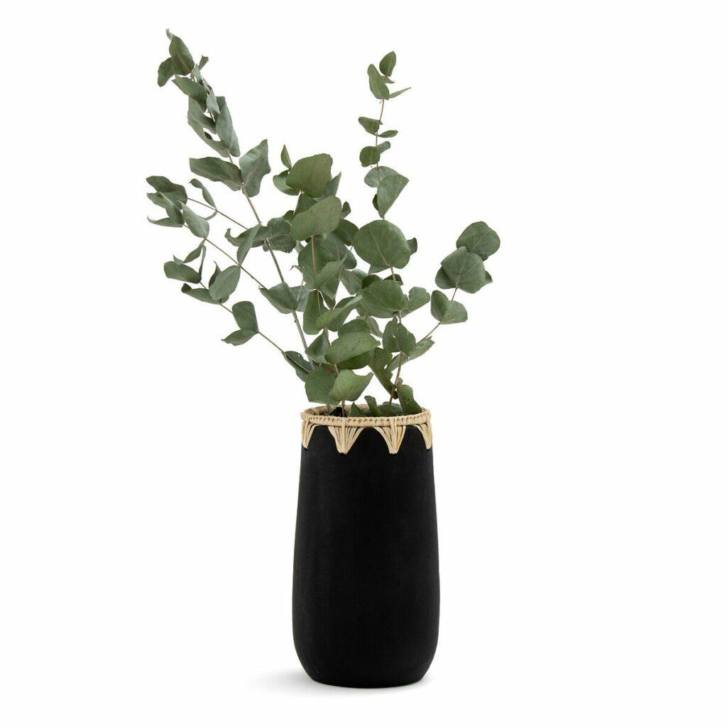 soldes La Redoute déco vase ethnique noir céramique rotin