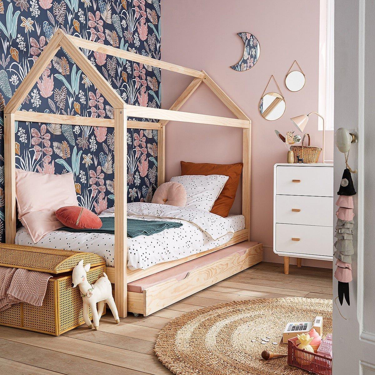chambre enfant lit cabane gigogne bois massif