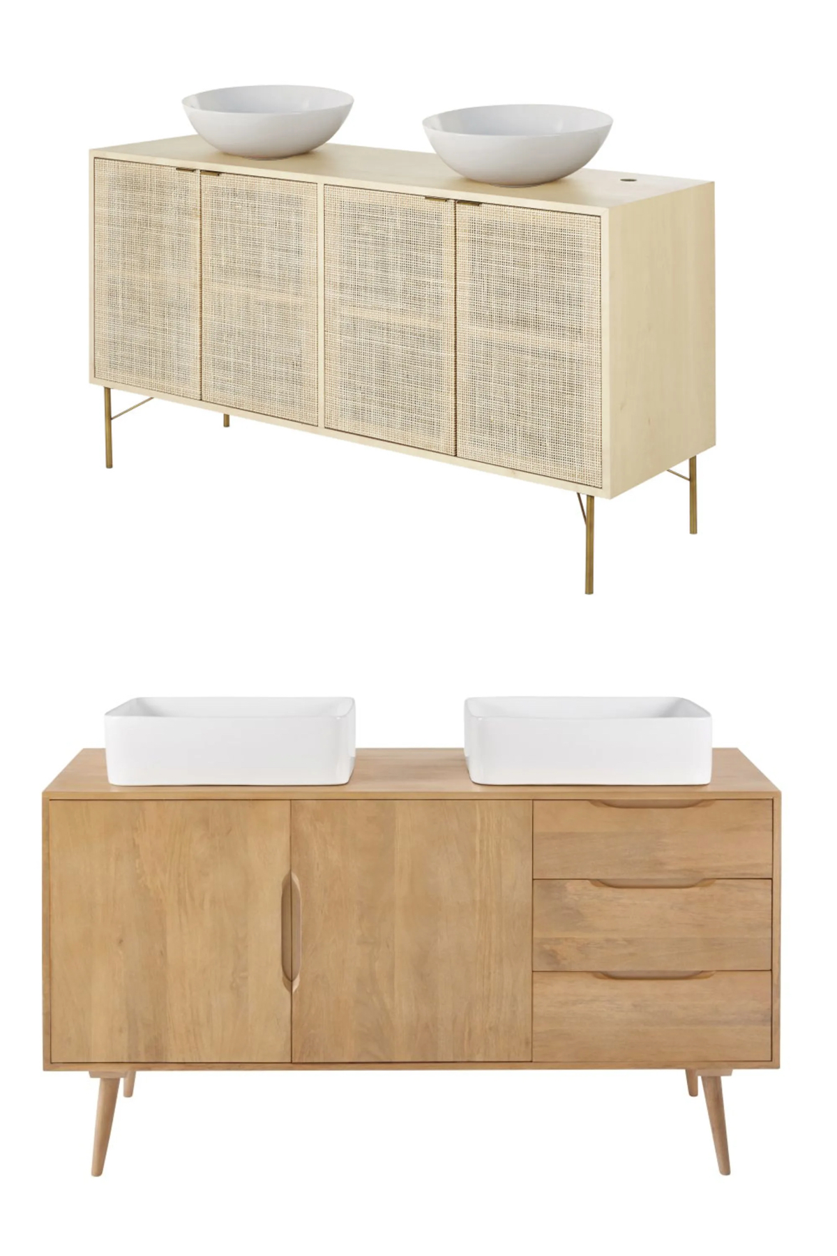meuble double vasque ronde cannage rotin bois manguier